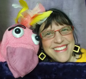 Sandy with puppet 1